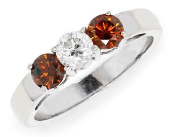 Three Stone Round Diamond Engagement Ring Fancy Red Diamonds 14K White Gold .90ctw
