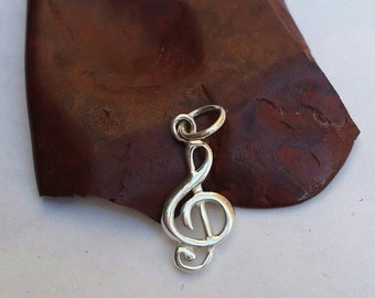 Sterling Silver Treble Clef Music Charm, Living Locket, Musical Charm Bracelet, Music Jewelry, Music Note, Clef Charm, Silver Music Notes