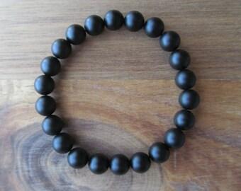 Matte Black Onyx Bracelet, Black Bracelet, Wrist Mala, Yoga Bracelet, Energy Bracelet, Meditation Bracelet, Minimalist, Stretch Bracelet
