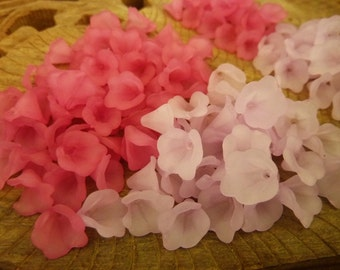 200 pce Mix of Pink & Violet Frosted Acrylic Calla Lily Flower Beads 10mm x 10mm