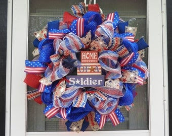 Home of A Soldier Deco Mesh Wreath