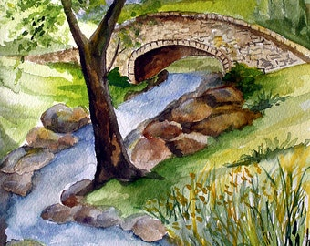 STONE BRIDGE - Original Watercolor, Country Watercolor, River Stream, River Watercolor, Watercolor Painting, Watercolor Art, Bridge, Stream