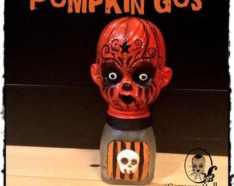 Pumpkin Gus-One of a Kind Goth Horror Art doll Halloween Pumpkin bottle Doll Primitive Folk Art