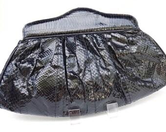 Genuine Snakeskin Handbag,80s JASMIN Reptile Skin Purse,Black Leather Clutch,Black Shoulder Bag,Black Purse,Black Clutch Bag