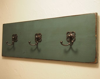 Distressed Teal Coat Hooks