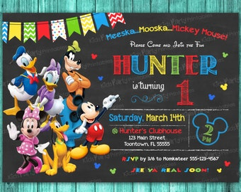 Mickey Mouse Clubhouse Invitations, Mickey Mouse Clubhouse Birthday Invitation, Party Printable Chalkboard 1st Birthday First Invite Any Age