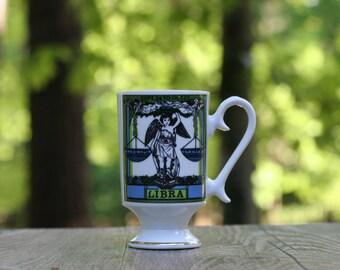 Vintage Libra Footed Mug / Royal Crown Arnart Smug Mugs Zodiac by Elena / Libra Gift / Libra Cup / Libra Mug / Zodiac Gift