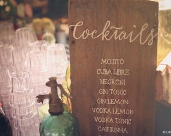 Custom calligraphic antique wood wedding sign