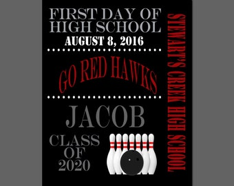 Typography Print, 1st Day of High School, Older Student Photo Prop, Bowling Team Back to School Print, Personalized 1st Day of School