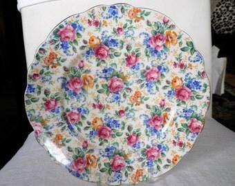 Vintage Chintz Plate James Kent Ltd. Rosalynde Pattern