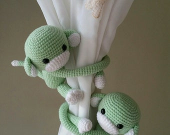 A pair of Mint Green Monkey Curtain Tiebacks, (Both sides)  MADE TO ORDER..