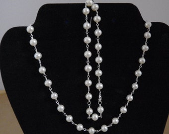 White Pearl Necklace and Anklet