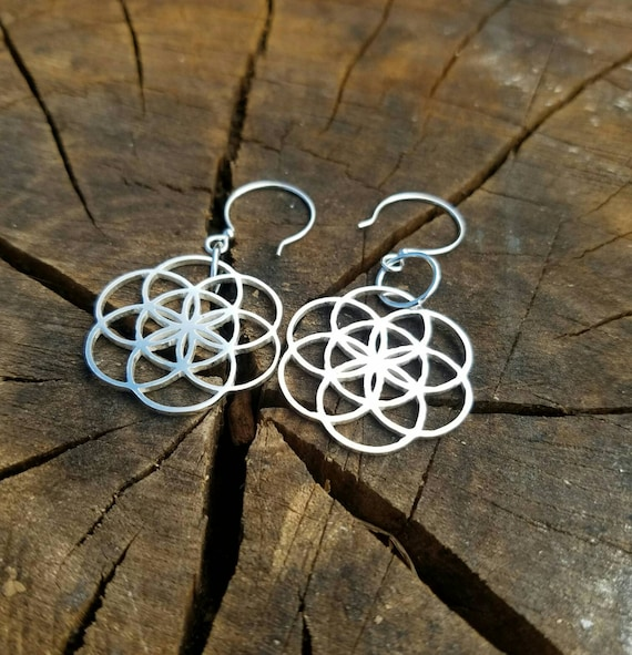 Seed of Life Cast Sterling Silver Earrings - Sacred Geometry - Healing