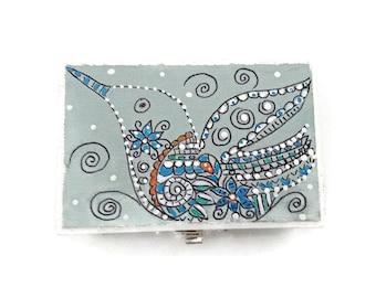 Hand Painted Wood Zentangle Box, Painted Zentangle Jewelry Box, Wood Zentangle Ring Box, Zentangle Hummingbird Box, Dot Art Box - BIRDSONG
