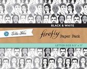 Firefly Black & White Letter Sized Paper Pack : 10 Printable Digital Scrapbook Papers