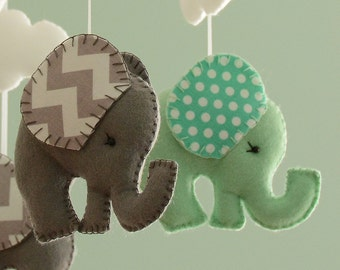 Nursery Mobile - Elephant Mobile -Mint Green Grey Mobile - MADE TO ORDER