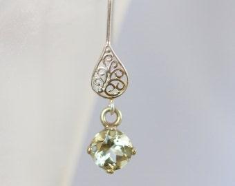 Green Amethyst Earrings - Silver Prasiolite Dangle Earrings - Silver Filigree Green Amethyst 7mm Gemstone