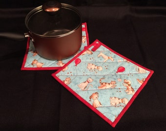 Dog/Cat Quilted, Insulated Pot Holder Set