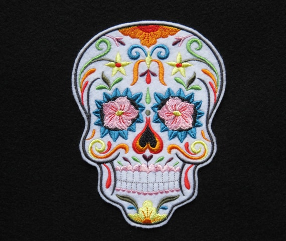 Sugar Skull Iron On Patch Day of the Dead Dia de los