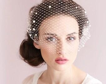 Birdcage veil, pearl veil, bridal veil, wedding veil