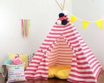 Pink Stripe Teepee, Play Tent, Playhouse, Kids Teepee Tent, Teepees, Tee Pee Tent, Kids Tent, Tent, Custom Order, Ships Fully Assembled