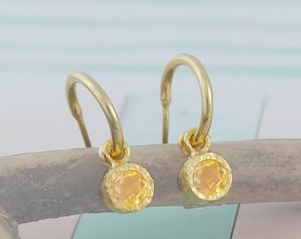 Gold Hoop Earrings - Dot Citrine November Birthstone