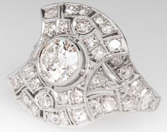 Antique Art Deco Old Diamond Ring With Openwork Details Platinum CN7867