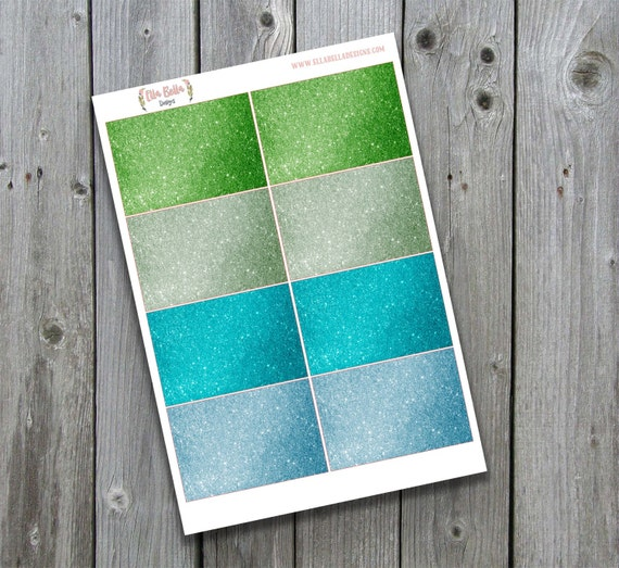Happy Planner blue and green Glitter stickers