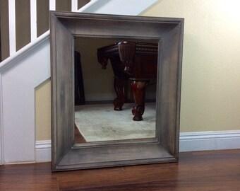 "Mirror, Thick Framed Mirror, Tan Rustic Mirror, 30"" by 34"", Framed Mirror, Wall Mirror, Vanity Mirror, Bathroom Mirror"