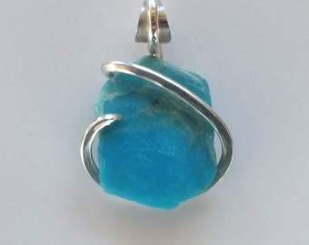 Handmade AZ Turquoise Pendant wrapped in Sterling Silver