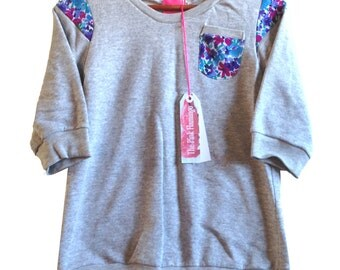 SALE s8 Grey Marl Vintage Floral Insert Sweater