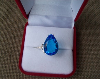Swiss Blue  Pear Ring Sterling Silver - Huge 18x13 mm