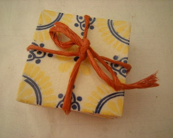4 hand painted tiles-small projects-coasters-yellow-blue trim-