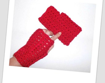 Crochet Fingerless Gloves, Winter Gloves by Vikni Designs