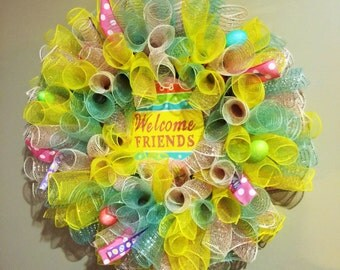Easter Spiral Deco Mesh Wreath with Egg Welcome Sign