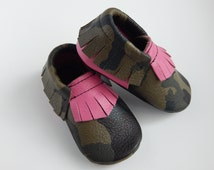 "Leather Camo"" Soldier Girl"" Baby/ Toddler Moccasins"