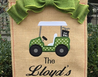 Monogrammed Golf Burlap Garden Flag  Personalized with Name