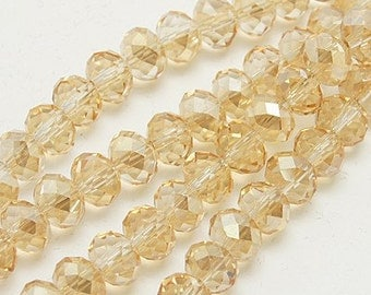 "Electroplate Glass Beads Strands, Faceted Abacus, Pale Goldenrod, 4x3mm, Hole: 1mm; about 150pcs/strand, 17.5""  #044"