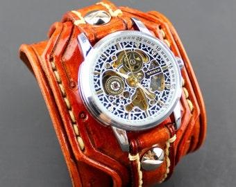 Leather Watch, Steampunk Watch, Men's watch, Leather Wrist Watch, Leather Cuff, Bracelet Watch