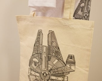 Millennium Falcon Canvas Tote Bag (100% Cotton)