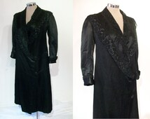 """Enchanting Edwardian / 1910s silk low-waisted coat B36"""" w/ elaborate lace trimmed collar"""