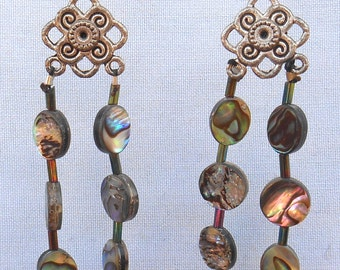Abalone and Silver Dangle Earrings