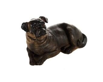 "19th century sitting English Bulldog Pottery 12"" figurine"