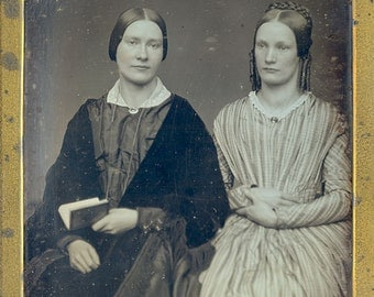 Antique 1/2 Plate Daguerreotype Portrait of two Sisters c.1845