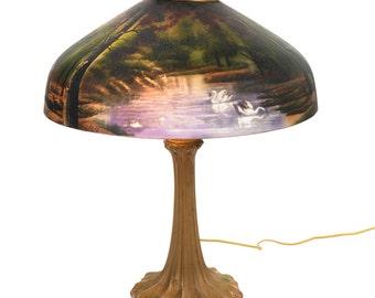 Art Nouveau Fabulous Antique Reverse Painted Lamp w/Bronze Base c.1900s