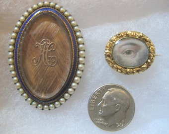 18th century Georgian Lover's Eye Pin & Hair Brooch-Pair of Rare Miniatures c.1788