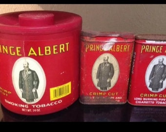 Vintage Prince Albert Tobacco Tins And Plastic