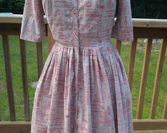 Vintage 1950s 50s Cotton Day Dress with Full Skirt VLV Rockabilly