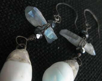 Rustic gem earrings. Assemblage jewelry. Scorched Earth beads. Quartz point. Crystal chakra. Ice blue. Tribal victorian. Ceramic teardrops