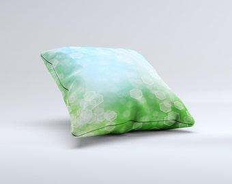 The Abstract Shaped Sparkle Unfocused Blue & Green ink-Fuzed Decorative Throw Pillow